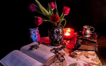 цветы, сова, стол, тюльпаны, свеча, книга, тульпаны, cвечи, книгa