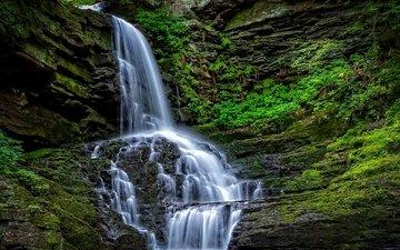 камни, водопад, поток, мох