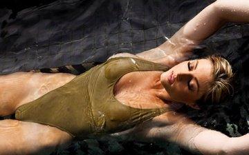 вода, девушка, блондинка, бассейн, купальник, мокрая, сиськи