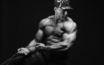 цепь, плечо, кепка, бодибилдер, мускул, тренировки