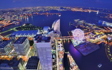 небо, ночь, огни, вид, панорама, колесо обозрения, япония, высота, мегаполис, залив, дома, подсветка, здания, синее, японии, йокогама, иокогама
