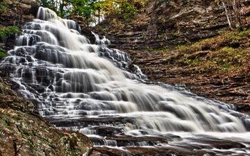 rocks, waterfall, pennsylvania, ricketts glen state park