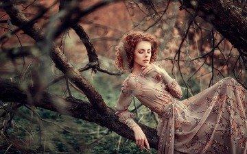 природа, девушка, модель, шатенка
