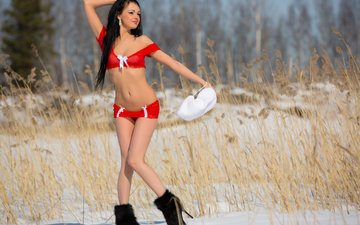 snow, nature, winter, brunette, model, chest, katie, boots