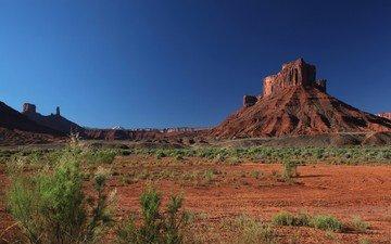 скалы, природа, песок, гора, красный, сша, на природе, наскальные, штат юта, кустарники