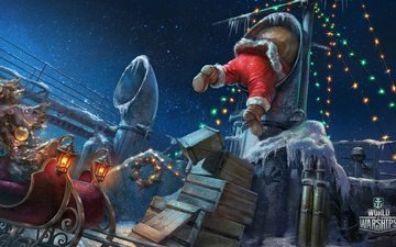 the sky, night, lights, new year, sea, stars, ship, ice, sleigh, garland, pipe, santa claus, boxes, deck, world of warship