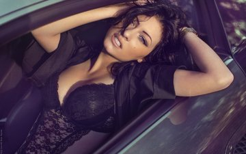 girl, look, chest, photographer, lips, sexy, car, linen, the temptation, lace, touch, excitation, ben haïm david