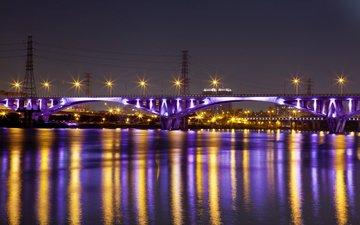 ночь, огни, река, отражение, города, мост, тайбэй, тайвань, китай, подсветка, ноч
