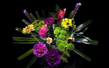 розы, черный фон, букет, герберы, гвоздики, роз, букеты