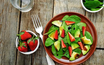 клубника, ягоды, яблоко, салат, эппл, cалат