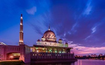 небо, облака, огни, вечер, закат, тучи, мечеть, освещение, неба, пурпурный, пролив, вечернее, малайзия, путраджайя, лиловая