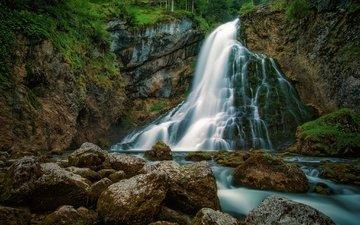 вода, камни, водопад, поток, мох