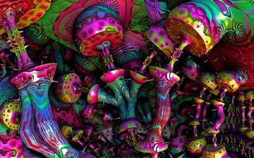 art, abstract, mushrooms, fantasy, colorful, bright, psychedelic, psy, lsd, hd wallpaper, grbi