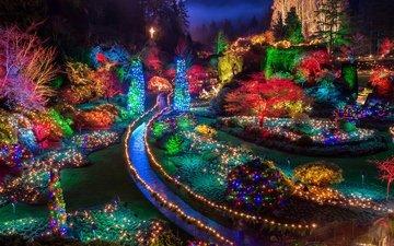 night, lights, new year, park, garland, holidays, canada, butchart, gardens