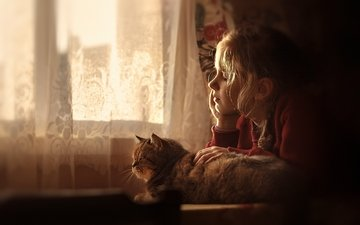 cat, girl, house, window, friendship, comfort, dreams