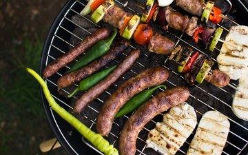 овощи, мясо, гриль, колбаски, шашлыки