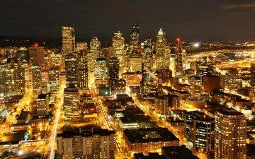 огни, вашингтон, небоскребы, ночной город, сша, подсветка, здания, сиэтл, штат вашингтон