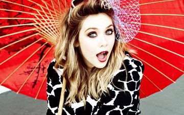 девушка, блондинка, взгляд, очки, красавица, выражение, актриса, милая, зонтик, макияж, красивая, бант, симпатичная, мимика, элизабет олсен