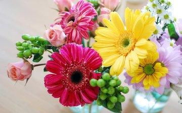 желтый, розы, весна, букет, розовый, герберы, роз, букеты, gerberas