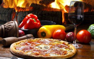 fire, tomatoes, tomato, wine, pepper, pizza, ham, fast food