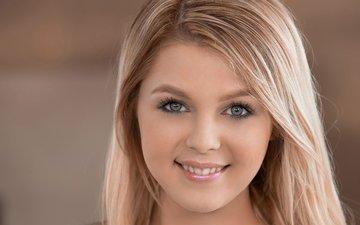 девушка, блондинка, улыбка, лицо, blond, chloe lynn