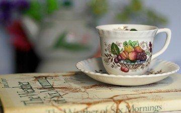 mug, saucer, cup, book