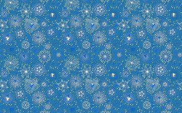 flowers, line, pattern, blue