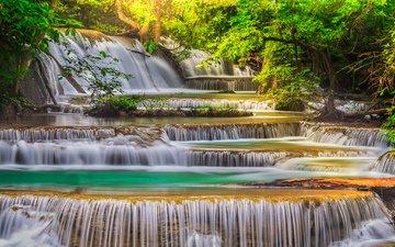 вода, водопад, поток, каскад