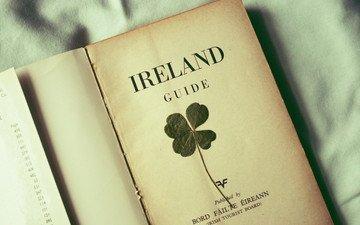clover, leaf, sheet, book, ireland