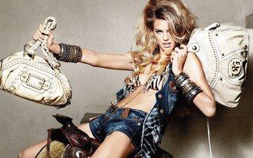 девушка, модель, шорты, сумки, ванесса хесслер