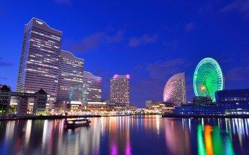 небо, ночь, огни, отражение, колесо обозрения, япония, мегаполис, залив, дома, подсветка, здания, синее, японии, йокогама, иокогама