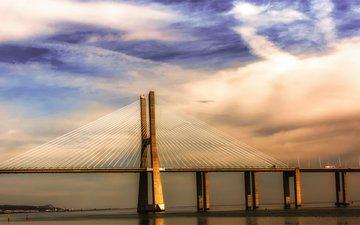 небо, облака, река, тучи, мост, португалия, синее, португали, лиссабон, тежу