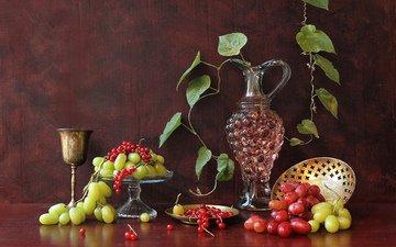 виноград, ягоды, вино, вина, смородина, кубок, графин, still-life
