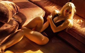 girl, blonde, glasses, panties, sitting, photographer, sofa, mike, pillow, on the floor, wojtek pruchnicki