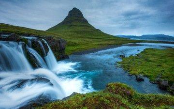 зелень, гора, водопад, исландия, snæfellsnes national park