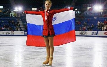 медаль, флаг, юлия липницкая, фигуристка, чемпионка