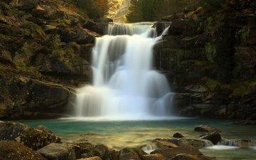 вода, камни, водопад, брызги, поток, каскад