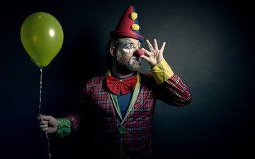 человек, шарик, клоун