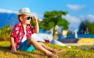 солнце, лето, очки, ребенок, мальчик, бокалы, шляпа, рубашка, шорты, ушанка, летнее, дитя