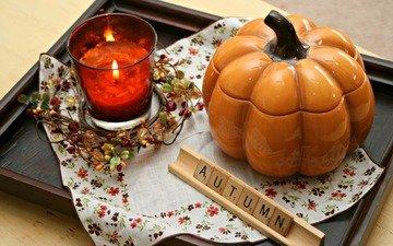 candles, decoration, autumn, pumpkin, tray, decor