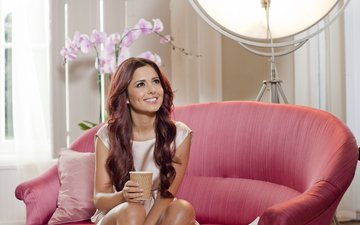 smile, look, pink, singer, sofa, cheryl cole, orchids, cup