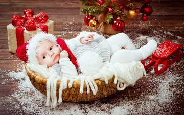 подарки, ребенок, шапка, малыш, рождество, детские, встреча нового года, елочная, infant, дитя