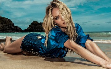 берег, девушка, море, блондинка, пляж, волосы, кэндис свейнпол