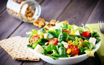 зелень, сыр, помидоры, салат, брынза, помидорами, cалат
