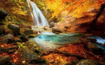 деревья, камни, лес, листья, скала, водопад, осень