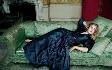 girl, interior, dress, blonde, singer, fireplace, laurie, adele, adele laurie