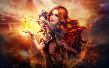 art, flame, girl, dragon, fire, woman, beautiful, fantasy, pretty, redhead, digital, female