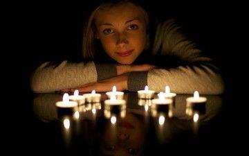 свет, свечи, девушка, отражение, взгляд, свеча, легкие