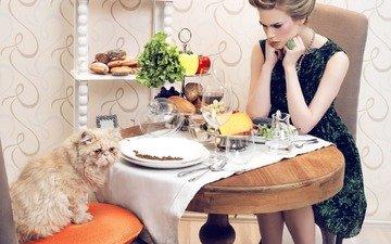 девушка, кошка, стол, модель