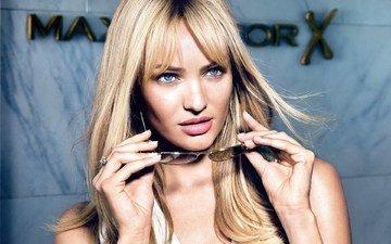 девушка, блондинка, портрет, взгляд, модель, волосы, лицо, кэндис свейнпол, maxfactor